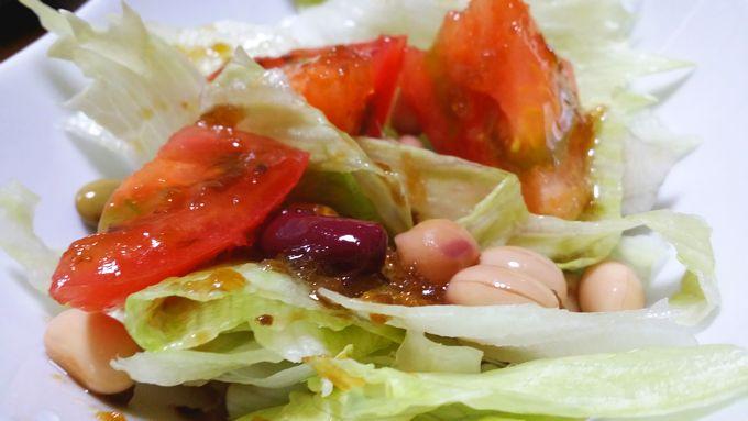 コープ 野菜たっぷりドレッシング 野菜にかけた状態