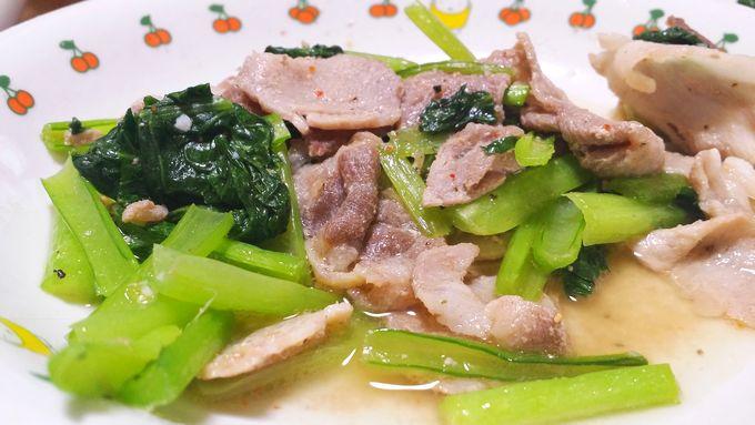 パルシステムのはじめてセット 産直野菜セットの小松菜の炒め物