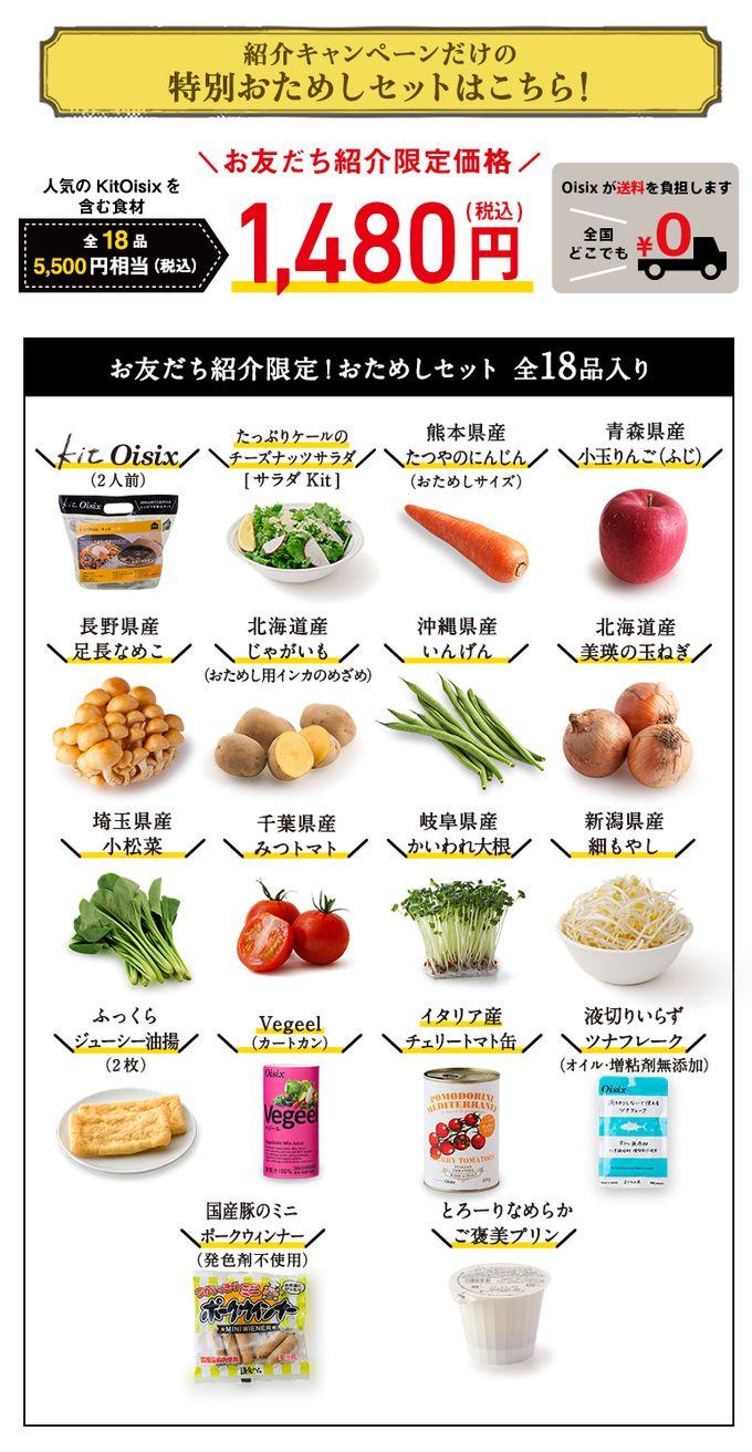 オイシックスお友達紹介のキャンペーンのお試しセット内容(2018/2/28)