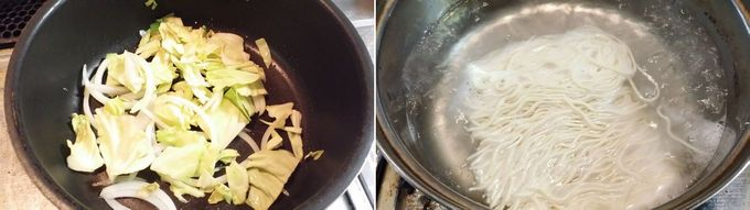 野菜たっぷりベジポタラーメンを調理