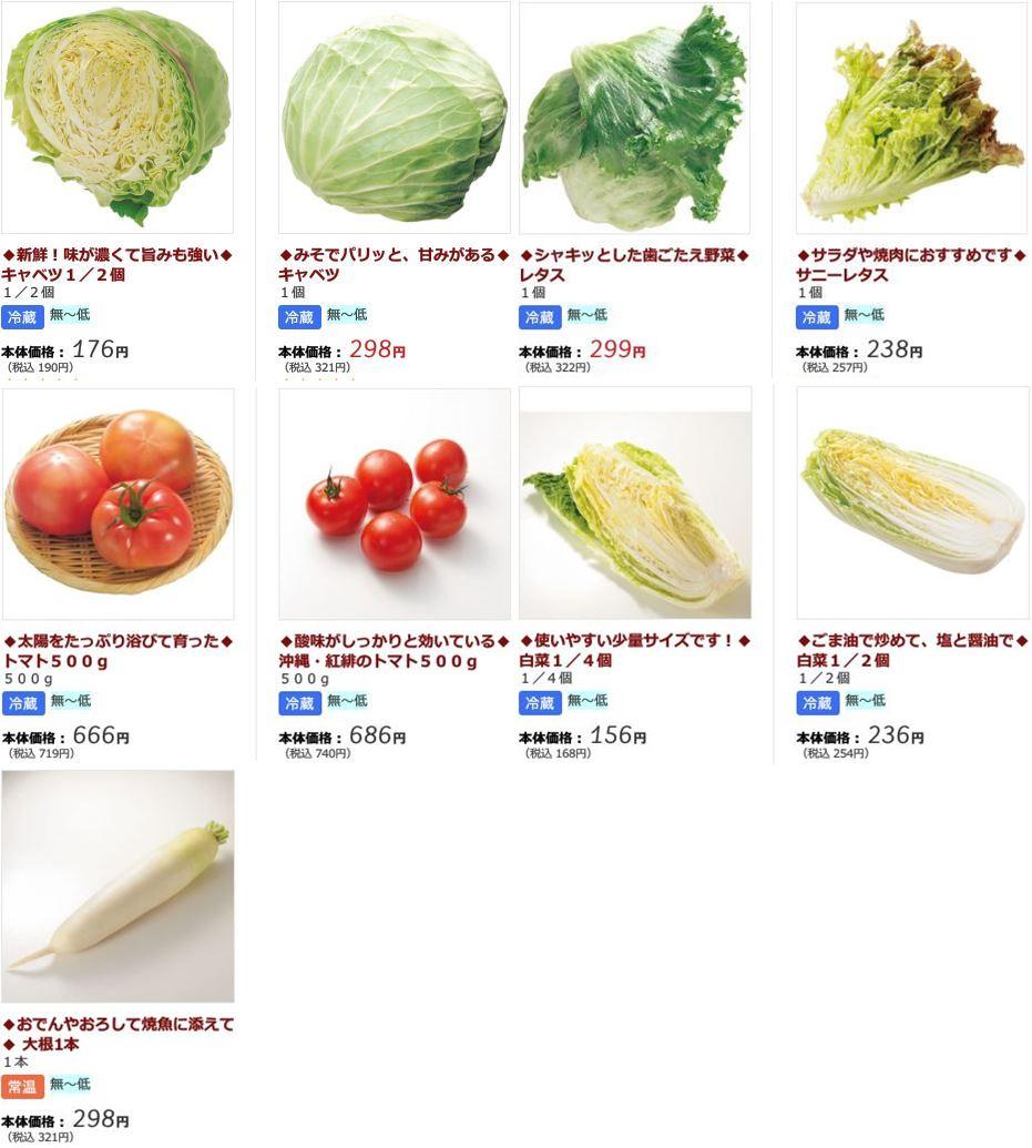 2018年2月 らでぃっしゅぼーやの野菜価格